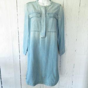 J Crew Chambray Tunic Shirt Dress Light Wash